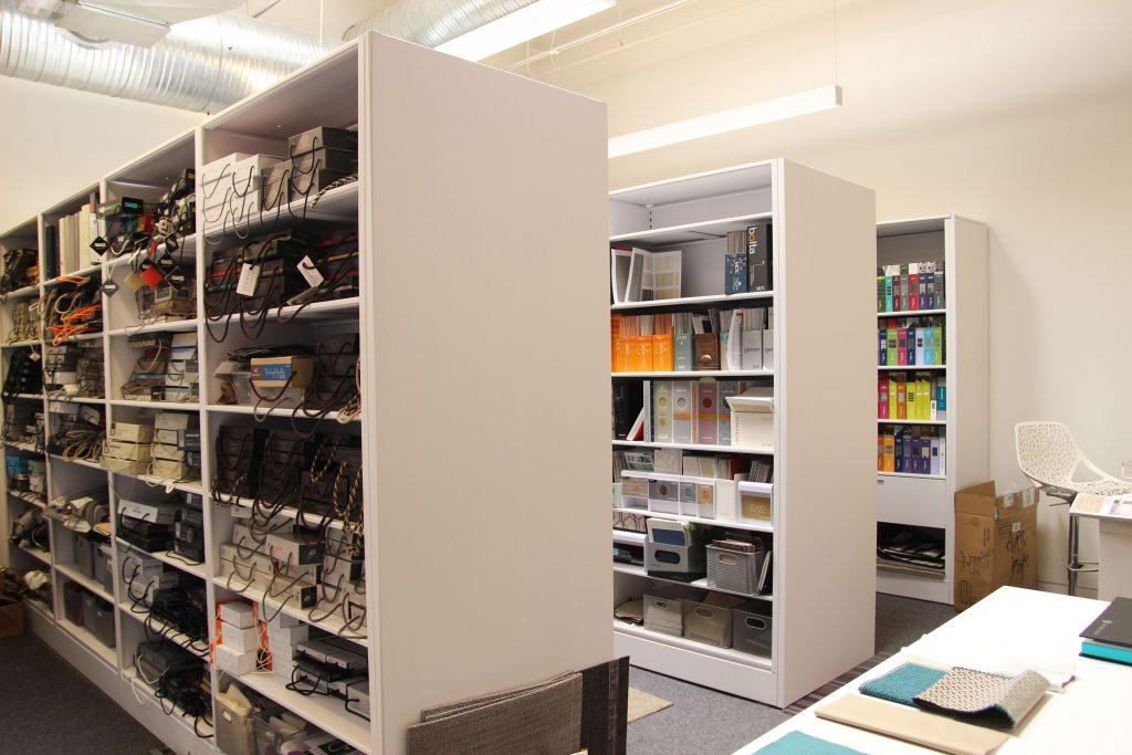 designer binder library shelving